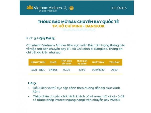 VIETNAM AIRLINES THÔNG BÁO MỞ BÁN CHUYẾN BAY TP. HCM ĐI BANGKOK 01/10/2020.